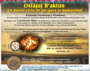 La invitación a la ceremonia maya en San Andrés