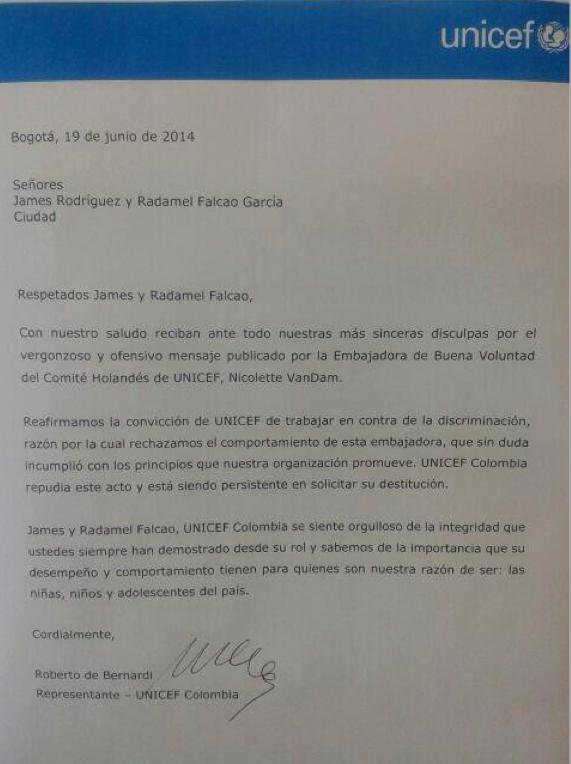 Carta de UNICEF Colombia publicada en Semana.com